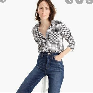 New J. Crew Grey Gingham Flannel Button-Down 00